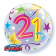 21st Birthday Brilliant Stars Bubble Balloon