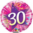 30th Pink Shining Star Foil Balloon