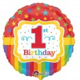 Rainbow 1st Birthday Foil Balloon