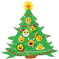 Emoji Christmas Tree Supershape Foil Balloon