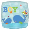 Ahoy Baby Boy Blue Square Foil Balloon
