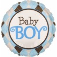 Argyle Tartan Blue Baby Boy Foil Balloon