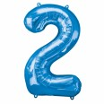 Foil Number '2' Blue Balloon