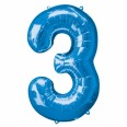 Foil Number '3' Blue Balloon