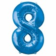 Foil Number '8' Blue Balloon