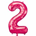 Foil Number '2' Pink Balloon