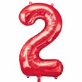 Foil Number '2' Red Balloon