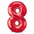 Foil Number '8' Red Balloon