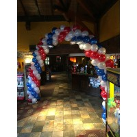 Twisted Balloon Arch in Red, White & Blue